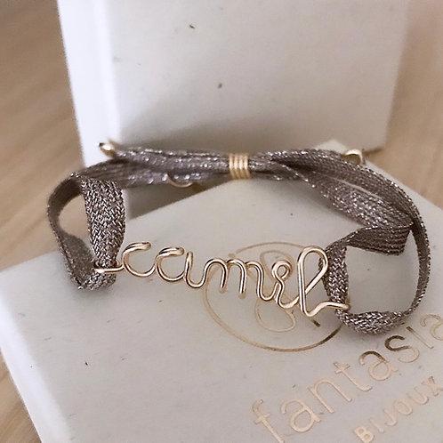 """Bracelet à message """" say it """"sur ruban métallisé"""
