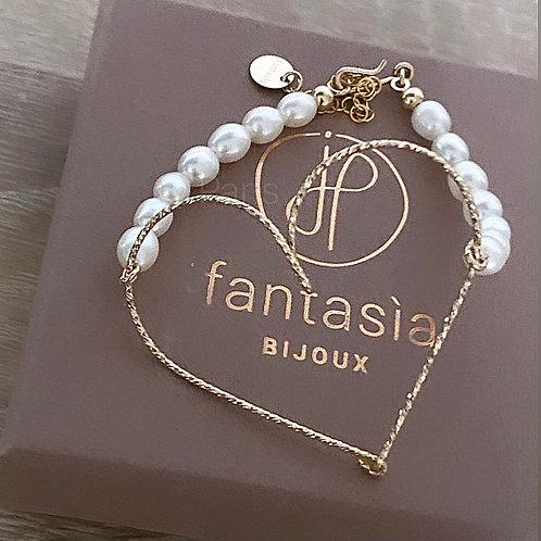 Bracelet grand coeur perles