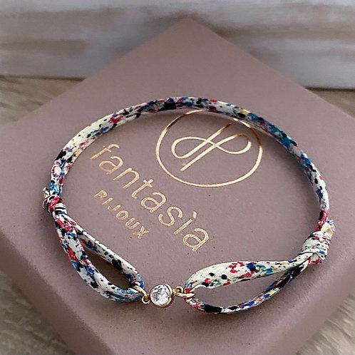 Bracelet moon sur cordon fleuri