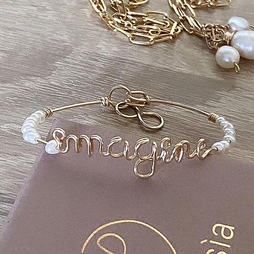 Jonc personnalisable petites  perles d'eau douce