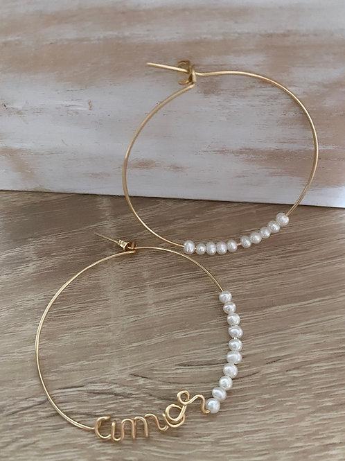 Créoles à personnaliser white pearl