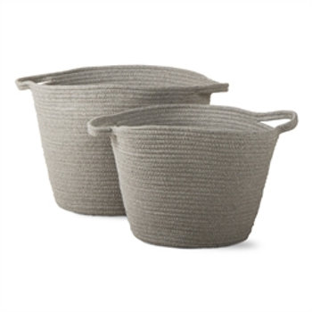 Cross Stitch Cord Basket - set of 2