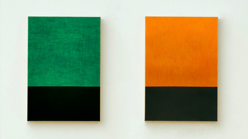 Composition with green and orange