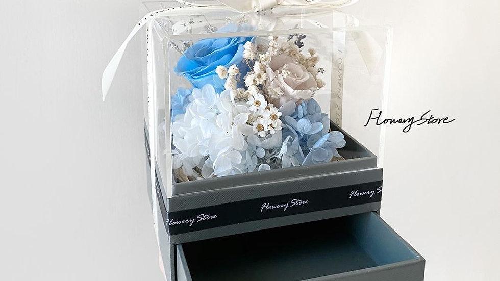 卡其藍玫瑰首飾盒