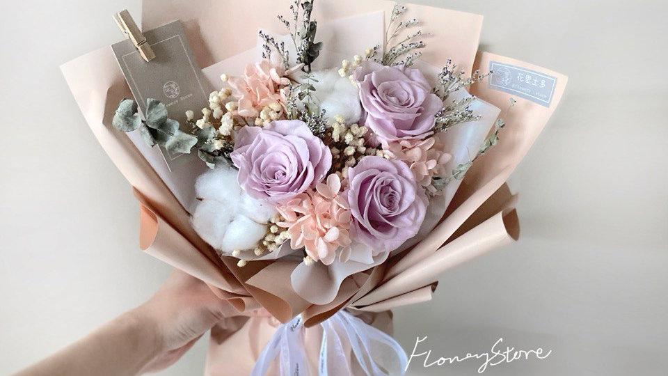 香檳色花紙香芋色玫瑰花束