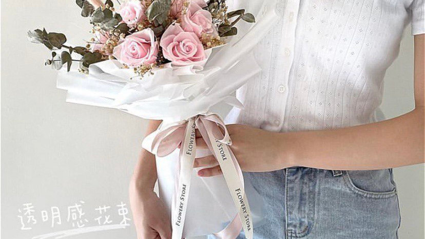粉紅玫瑰透明感花束