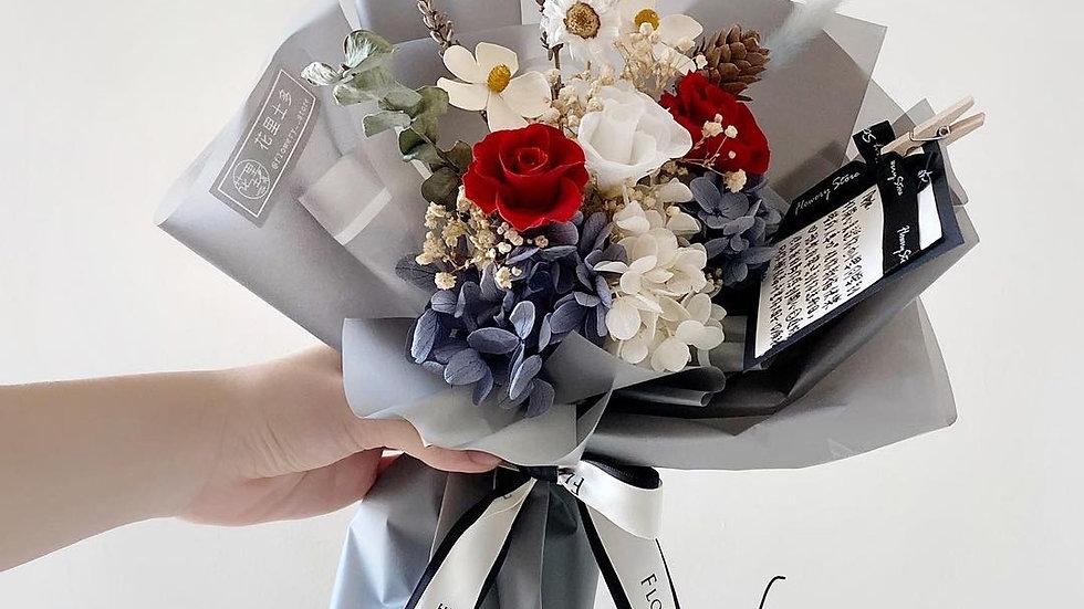紅白玫瑰灰色花束