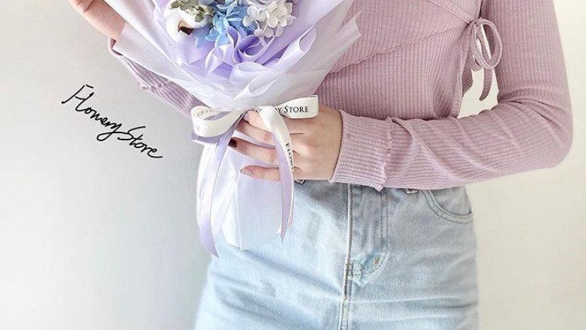 紫色玫瑰透明感花束