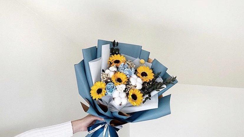 向日葵藍金花紙