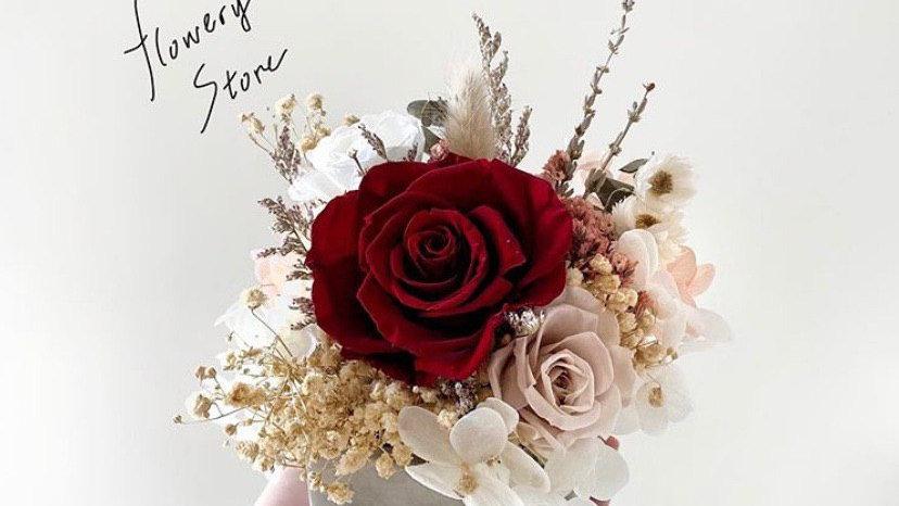 酒紅玫瑰水泥花盆