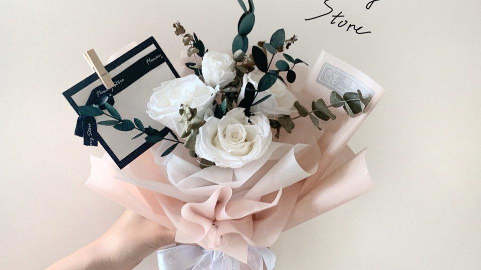 白玫瑰粉色花束