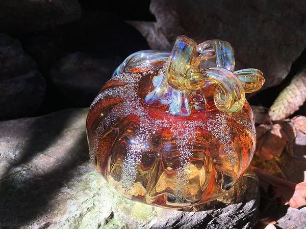 Transparent Orange Pumpkin with silver ridges and transparent mirror finished bronze stem