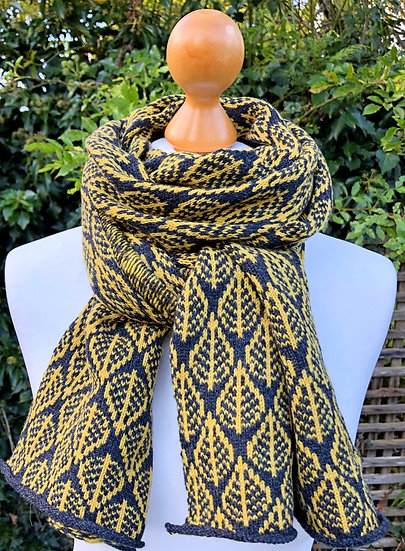 Charcoal & Mustard Yellow Leaf Scarf