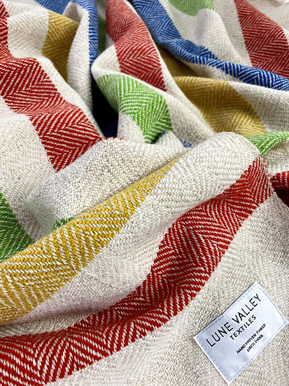 Multi coloured herringbone baby & child blanket
