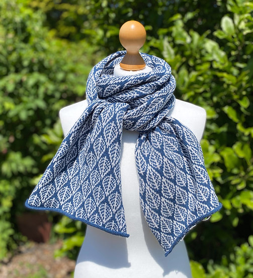 French Navy Leaf design scarf
