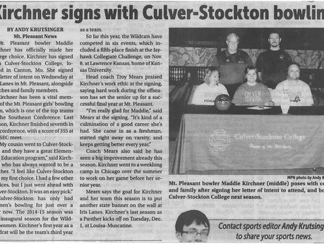 Kirchner signs with Culver Stockton College Bowling program