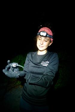 Dana holds leatherback hatchling