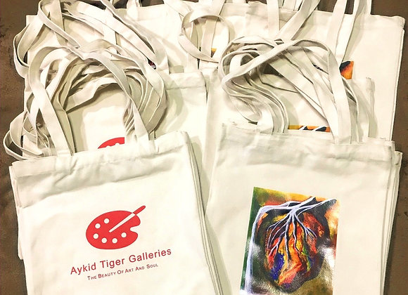 Aykid Tiger's The Illuminated Heart Canvas Tote Bag Summer Artist Print