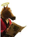angel horse reading newspaper, no bckgrn