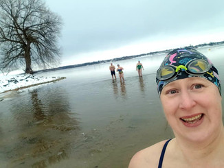Chilly swim, St Lawrence 1.5C