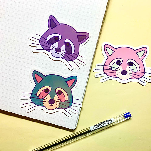 Pink, Grey and Green Raccoon Stickers