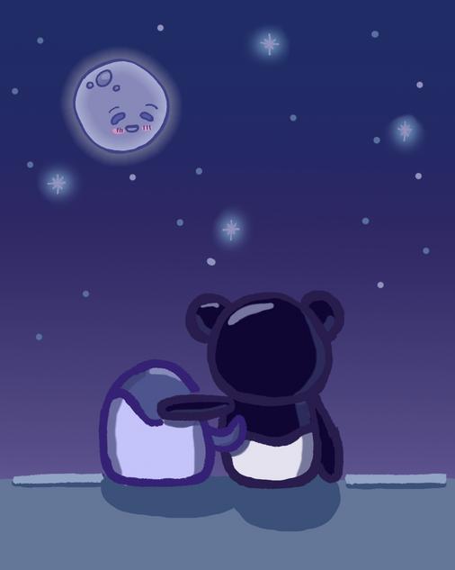 Hugging under the moon