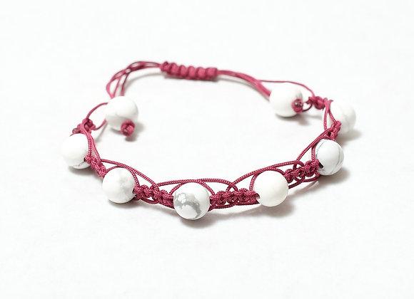 White/Maroon Stone Bracelet