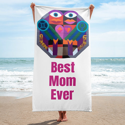 Best Mom Ever Beach Towel with Zodiac sign, Gift for Mother / Mom