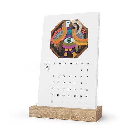 Zodiac Vertical Desk Calendar 2021, Monthly art Calendar