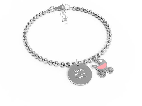 10 BUONI PROPOSITI Bracciale  Mini Jewel ninna nanna rosa B5488/RO