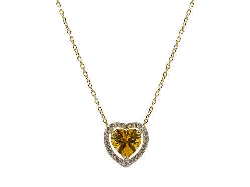 Collana con pietra a cuore gialla BDC6/2/5C