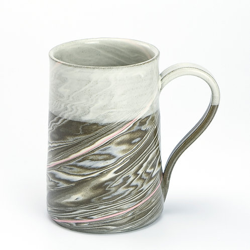 Taupe Marble Mug with pink line 01