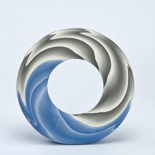 Ring Vase, Blue and Grey 01