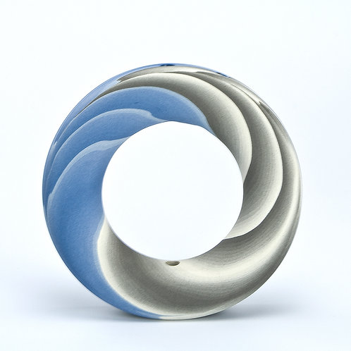 Ring Vase, Blue and Grey 03