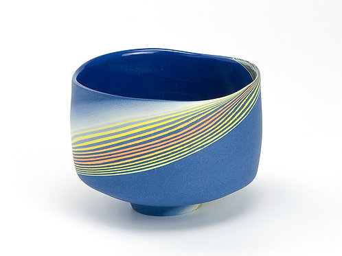 Dark blue & yellow Neriage Teabowl