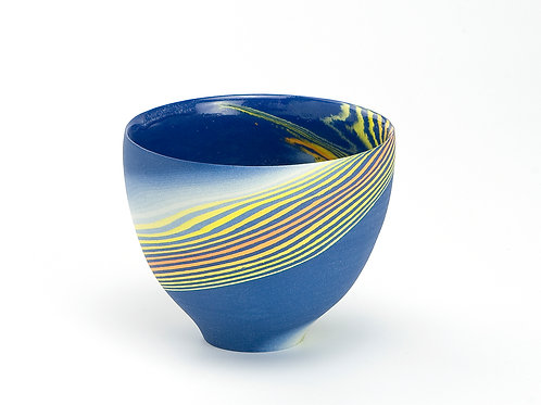 Dark blue & yellow Neriage mini bowl