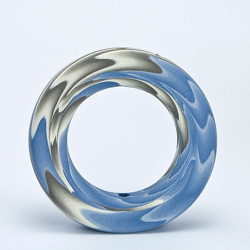 Ring Vase, Blue and Grey 06