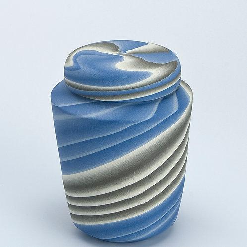 Teabag jar, Blue and Grey