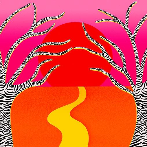 Safari Sunsets Red Sunset Yellow Road Zebra Pink Skies Leticia Romano Leti Romano