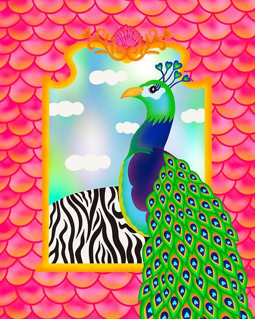 Peacock Zebra Fish Scales Mermaid Mirror Feather Leticia Romano Leti Bright Color