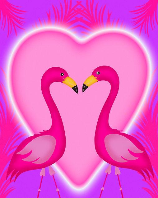 Flamingo Pink Valentine Love Lovers Pink Flamingo Hearts Leticia Romano Leti Palm Trees