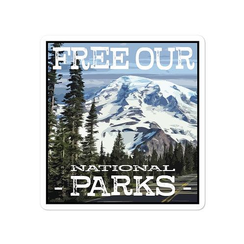 Free Our Parks Mount Rainier Road Sticker
