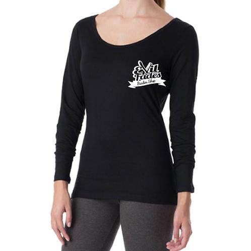 Women's open neck long sleeve Evil Fades Shirt
