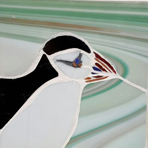 Puffin mosaic by Nicola Upton