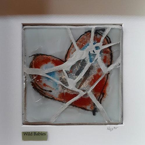 Wild babies fused glass mosaic by Nicola Upton
