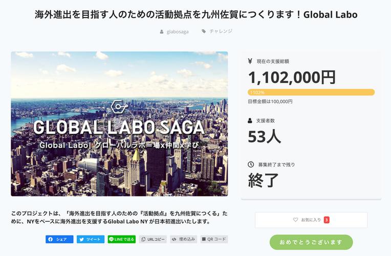 海外進出を目指す人のための活動拠点を 九州佐賀につくります!Global Labo