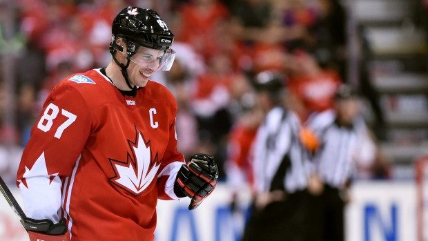 Sidney Crosby celebrates Canada's first big win of the tournament (Nathan Denette/The Canadian Press)