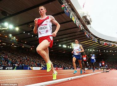 Andy Vernon on his way to 6th place in the 2014 Commonwealth Games in Glasgow