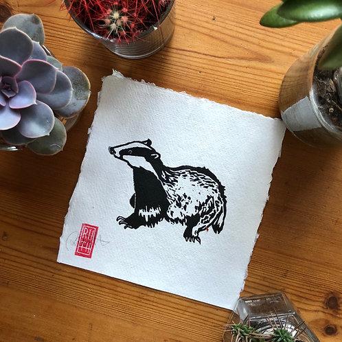 Mini square print - Badger