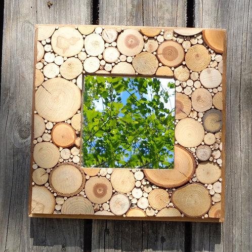 Miroir rondelles de bois